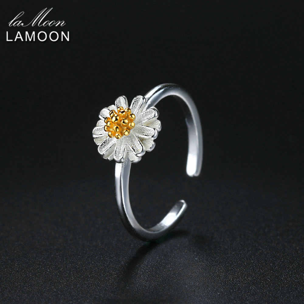 LAMOON 2017 New Handmade Chrysanthemum Flower Shape Real 925-sterling-silver Adjustable Rings Fine Jewelry for Women LMRY007
