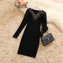 2018 autumn winter new female V-neck beading slim knit dresses women's long sleeve elegant black sheath knitted dress