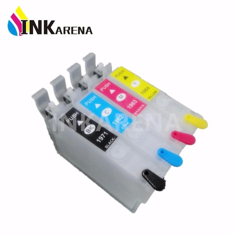 T1971 T1962 T1963 T1964 Cartridge isi ulang dengan Reset Chip untuk Epson XP201 XP211 XP204 XP401 XP411 XP214 XP101 WF-2532