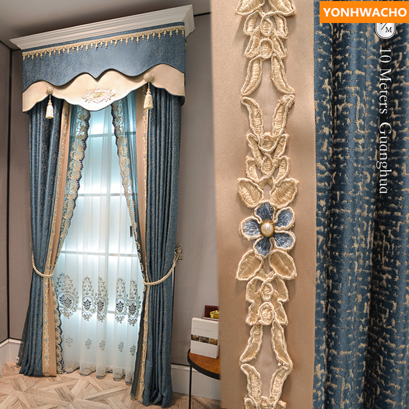 Custom Curtains American Chenille Jacquard Simple Modern Bedroom Peacock Blue Cloth Blackout Curtain Tulle Valance Drape B253