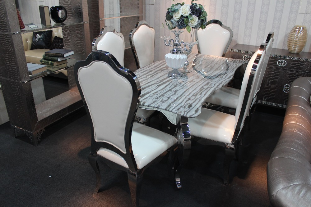 Edelstahl esstisch mit esszimmer set mit 6 stühle mit marmor ...