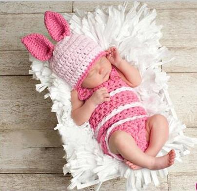 Baby Bunny Hat With Jumpsuits Shorts 2pcs Baby Set Newborn Crochet Photography Prop 0-1m,3-4m Cartoon Rabbit Newborn Hat Hats & Caps