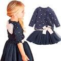 Розничные девушки 2 шт. комплект синий слоистых туту платье комплект одежды мультфильм одежда девушки новорожденных девочек одежда девочек одежду