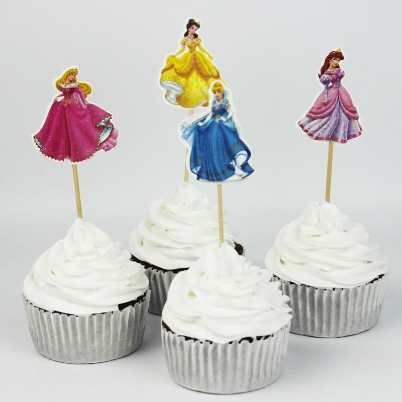 24pcs 4 designs cinderella princess cupcake toppers picksprincess girl birthday wedding party decorationsevnent party favors