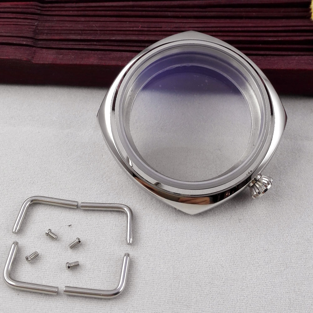 polished 45mm stainless steel watch case for UNITAS eta 6497 6498 ST3600 3620 movement polished 45mm rose golden stainless steel watch case for unitas 6497 6498 movement 28