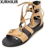 XJRHXJR Women Sandals 2018 Summer Fashion Shoes Girl S Cross Strap Women Sandals Flat Sandals Boot