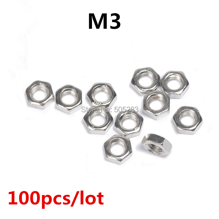 100pcs/lot New M3 Nut Hex Stainless Steel Screws Thread Nutsert Hexagon Nuts Metric Thread Screw HY398*100