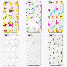 DK Kawaii Cute Llama Alpaca Animals Cartoon new soft Silicone clear Phone Case Cover For iPhone 6 6S 7 8 Plus 5S X XS XR XSMax
