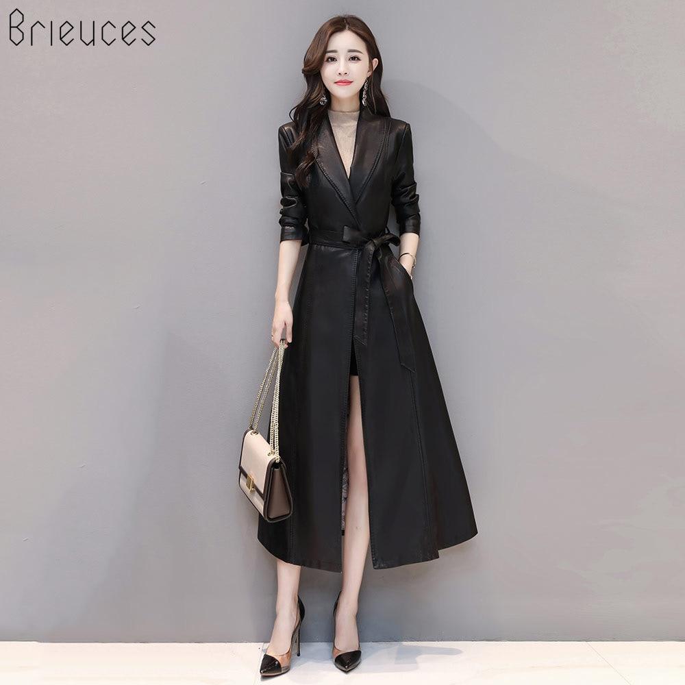 2018 new X-Long   Leather   Jacket Women Fashion Female Plus Size 4XL Turn Down Collar Single Button Belt   Leather   Coat Outerwear