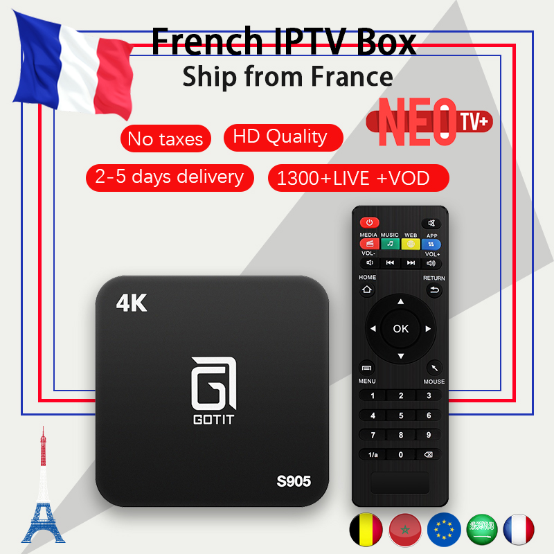 French S905 Android TV BOX 7 1 NEOtv IPTV subscription IPTV Francais Belgium Arabic Morocco 1300
