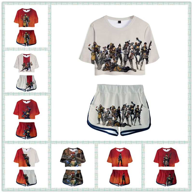 ZSQH Apex Legends Sexy sets Fashion T-shirt Shorts Costume Cosplay Exposing the navel Costume for Kids Children Women Girl