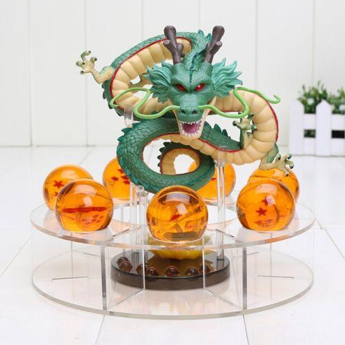 Anime Dragon Ball Z Shenron Figurine PVC Statue + 7 Star Crystal Dragon Balls + Plastic Base + Gift Box Cosplay Collection Cool