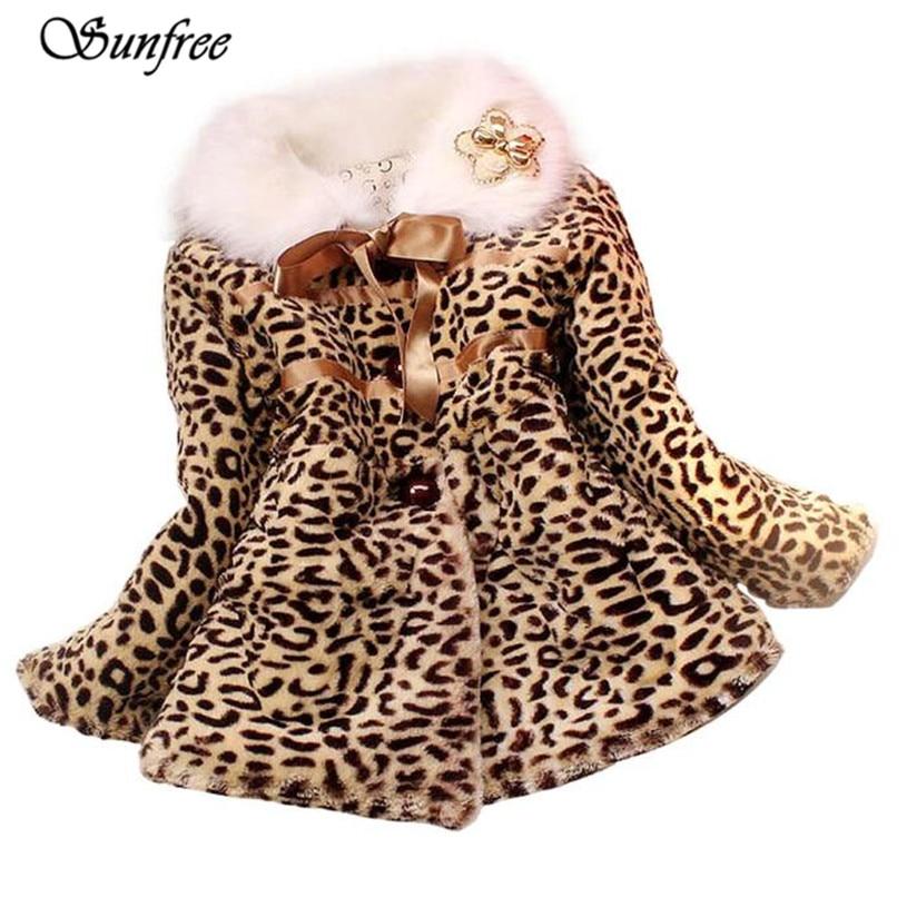 Sunfree New Hot Sale Girls Princess Faux Fur Leopard Coat Girls Warm Jacket Snowsuit Clothing Brand New High Quality #FV2450
