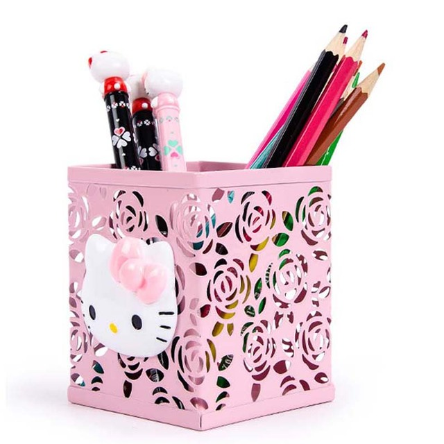 Joudoo Cute Kawaii Hello Kitty Print Pen Holder Hollow Out Metal Pencil Stand Container Desk Accessories