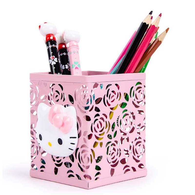 JOUDOO Cute Kawaii Hello Kitty Print Pen Holder Hollow Out Metal Pencil Stand Container Desk Accessories Office School Supplies
