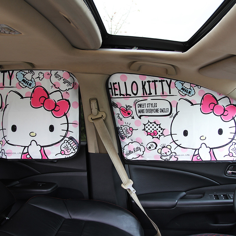 Car Window Sunshade Cover Kitty Cat Cartoon Magnetic Side Sun Shade Curtain Universal