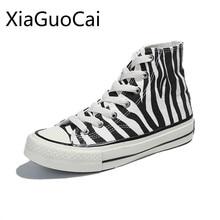 High Top Women's Canvas Shoes Zebra Pattern New Style Women'