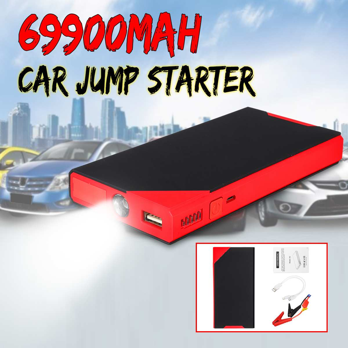 69900mAh Car Jump Starter Power Bank 12V USB LED Portable Multifunction Emergency Car Battery Booster Jumpstarter