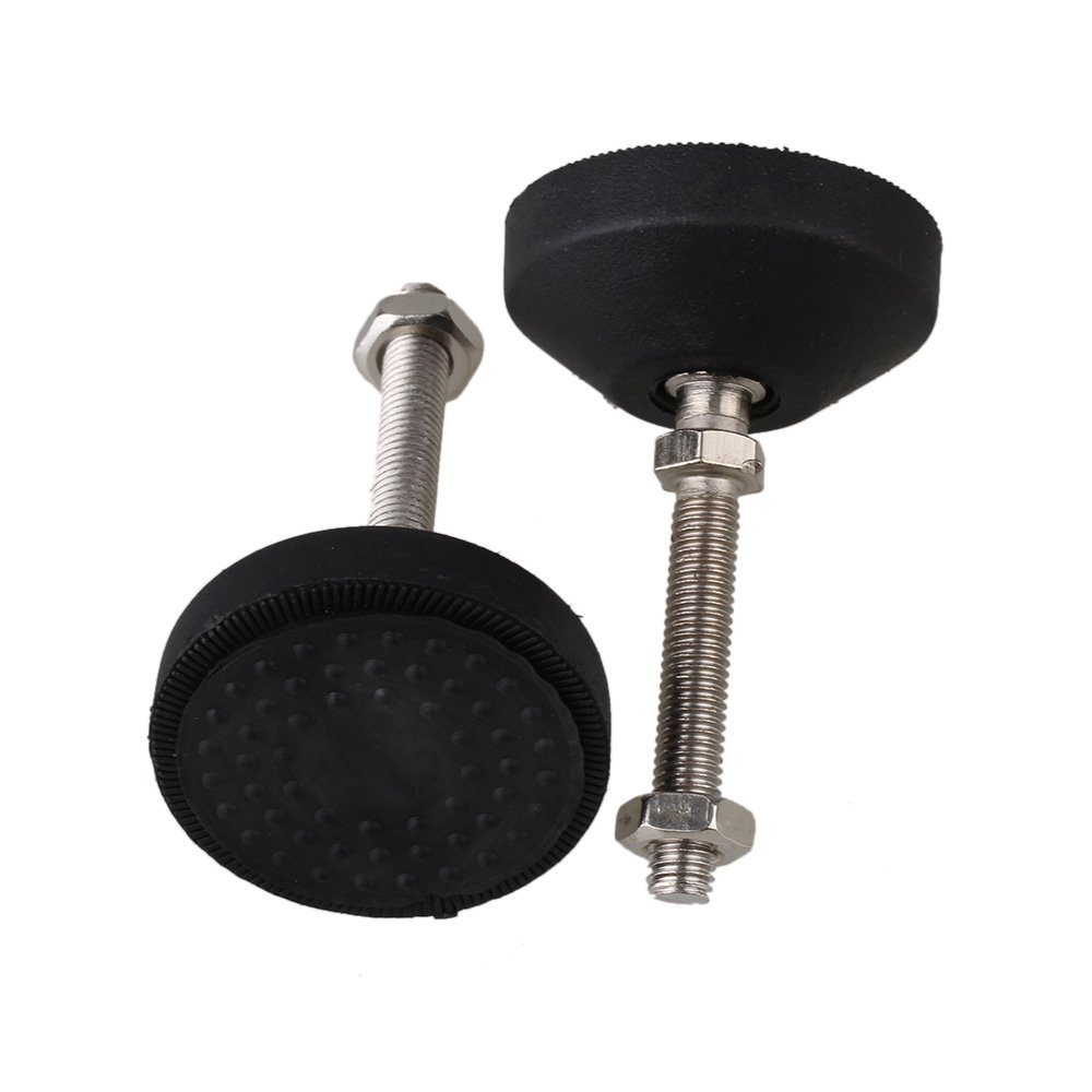 Black 50mm M8 X 46mm Threaded Universal Joint Adjustable Levelling Feet Furniture Glide Pad Pack Of 4