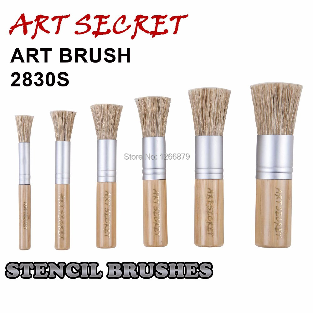 цена на high quality paint brushes for artist drawing stencil art brush 2830S bamboo handle chungking bristle