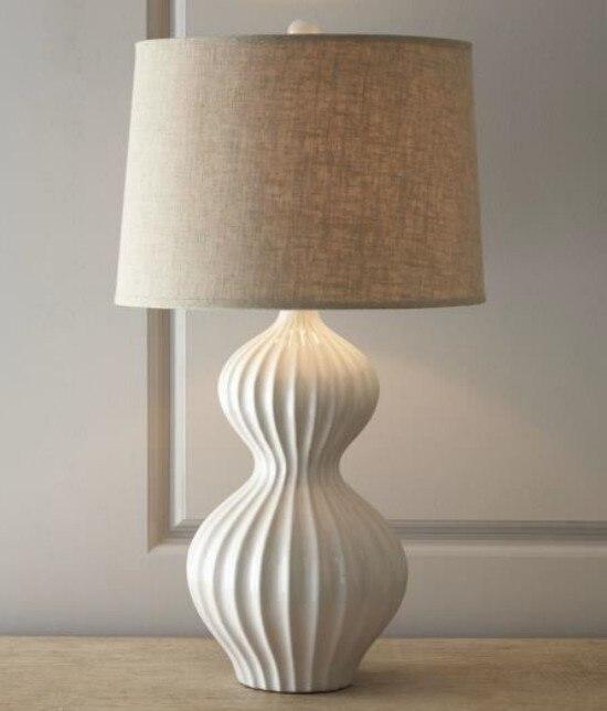 Simple Elegant Bedroom: Simple Gourd Table Lamps White Elegant Bedroom Bedside