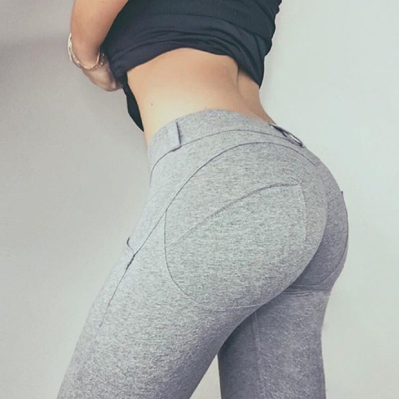 NORMOV Fashion Sexy Low Waist Leggings Women Solid Color Push Up Workout Slim Leggings Female High Elastic Fitness Leggings