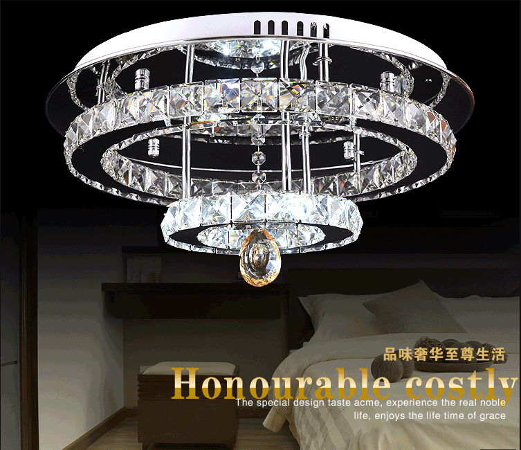 Hot sale Diamond Ring LED Crystal Chandelier Light Modern ceiling second layer Circles 100% Guarantee for foyer decoration