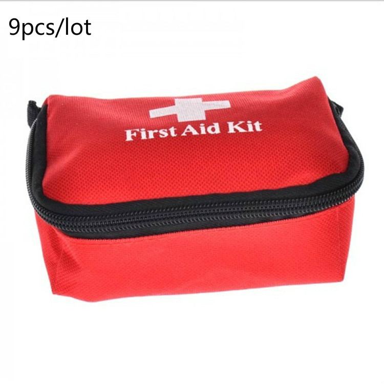 9pcs/lot Hot Sale Emergency survival bag Mini Family First Aid Kit Sport Travel kits Home Medical Bag Outdoor Car First Aid Bag 1 set outdoor emergency equipment sos kit first aid box supplies field self help box for camping travel survival gear tool kits