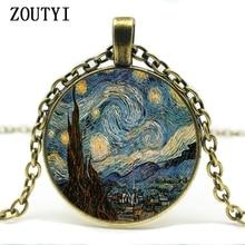 2018/Starry Night Pendant, Starry Night Necklace, Vincent van Gogh Pendant Bronze Vintage Necklace Best Friends Gift