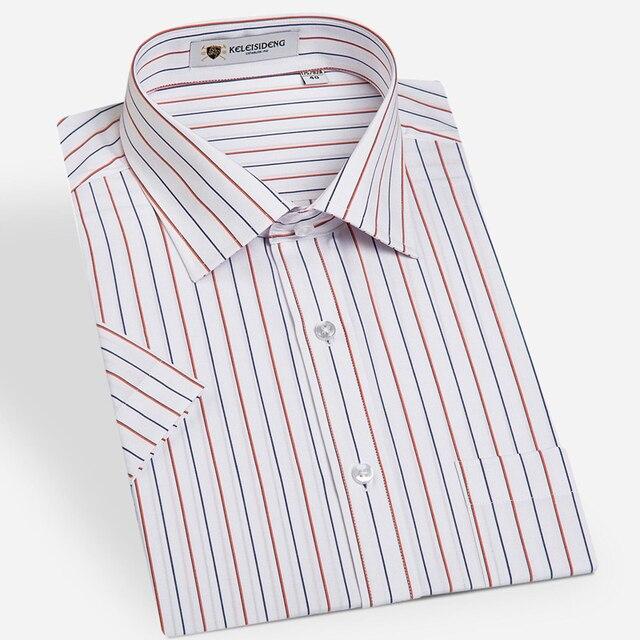 Summer 2016 Men's Stripe Regular Fit Multi Colors Dress Shirt Short Sleeve Unelastic Comfort Soft Non-Iron Formal Shirts