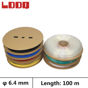 LDDQ 100m Heat shrink tube 3:1 adhesive with glue Seven colors Dia 6.4mm Cable sleeve Shrinkable tubing gaine thermo Waterproof