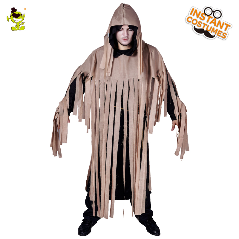 Men's Ghost Costume Masquerade Horror Ghost Clothing with Robe Fancy Dress Up Ghost Halloween Party  Imitation Ghost