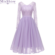 Сиреневое фиолетовое кружевное коктейльное платье трапециевидной формы Элегантное летнее женское платье с v-образным вырезом сексуальное женское коктейльное платье