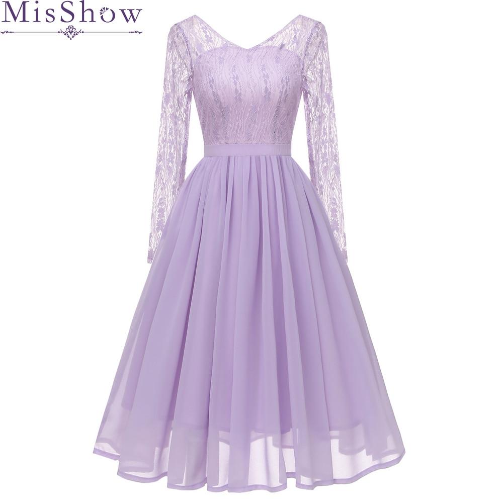 Lilac Purple Lace A-Line Cocktail Dresses 2019 Elegant Lllusion Summer Women Vestidos V-Neck Sexy Women Cocktail Dresses