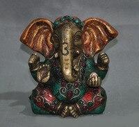wedding decoration 6Tibet Buddhism bronze mosaic turquoise red gem Elephant Jambhala Buddha statue
