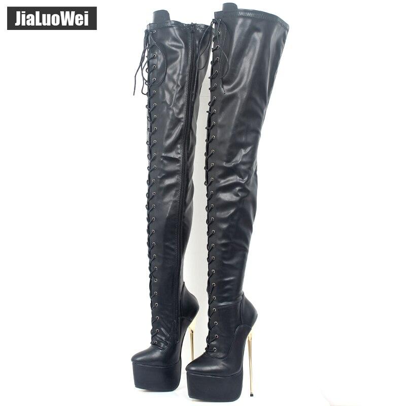 jialuowei 2018 New Women 22CM Ultra High Heel Lace-Up Platform Gold Metal Stiletto  Heels edfd28e3a967