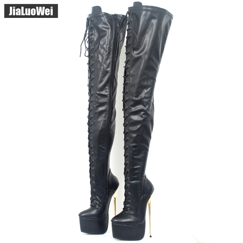 jialuowei 2018 New Women 22CM Ultra High Heel Lace-Up Platform Gold Metal Stiletto Heels Pointed Toe Over Knee Crotch High Boots