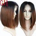 Moda densidad 150 pelucas cortas bob cabello humano pelucas del cordón ombre color de dos tonos completo y del frente del cordón pelucas ombre brasileño