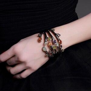 Image 1 - Fashion jewelry 2020 Black bangle multi cubic zirconia crystal bracelet femme armbanden voor vrouwen party bangles for women