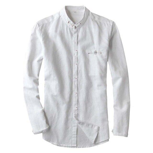 Camiseta de Lino de los Hombres de Manga Larga con Cuello en V de Algodón de Lino Top Casual Cómodo Transpirable Camisas UOrwdz