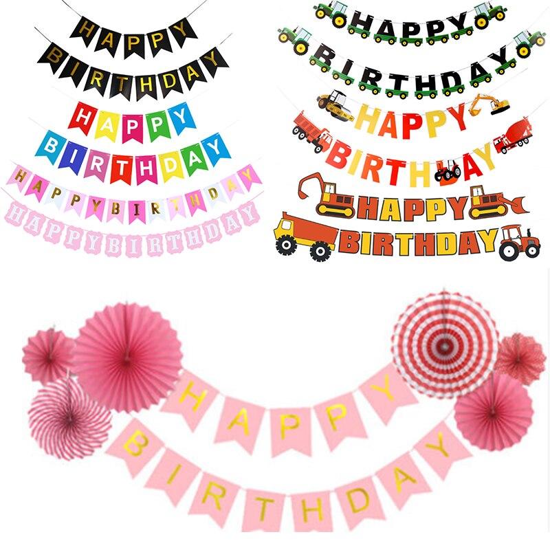 Баннер на день рождения, флажки, украшение на день рождения, детское украшение, детское украшение, разноцветная Гирлянда для девочек и мальч...