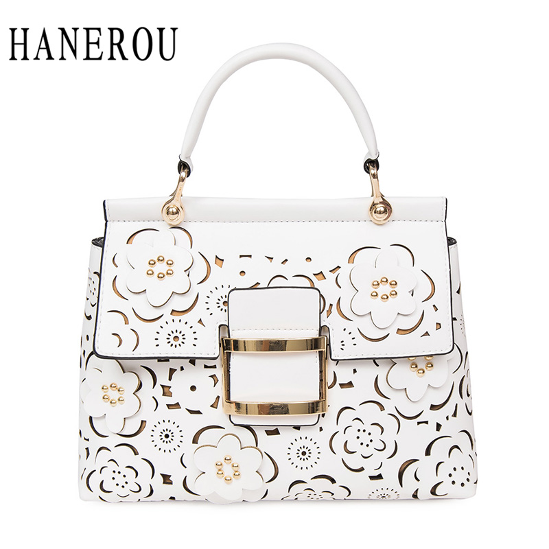 HANEROU Spring Summer Ladies Handbags Hollow Out Lock Women Shoulder Bag  Lady Floral Young Ladies Totes 44112a9a9ca9e
