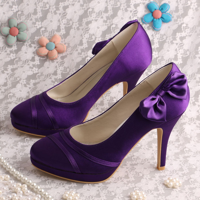 Wedopus MW783 Closed Toe Beautiful Ladies Purple Shoes Wedding High Heels Bow Pumps