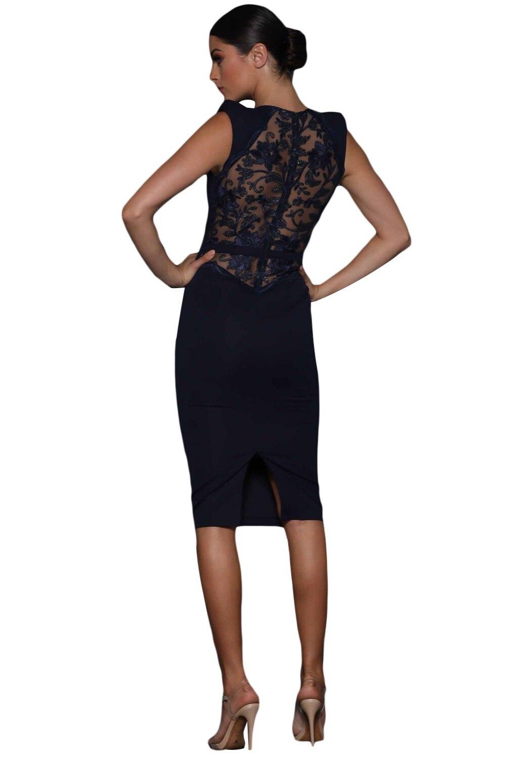 Dear Lover Women Summer Dresses Office Ladies Elegant Navy Sheer Lace Back  Sleeveless Midi Party Dress Vestidos Verano LC610299 aea989310131