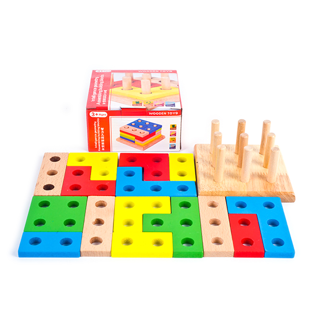 Wooden Montessori Building Blocks Column Shapes Stacking Toys Baby Preschool Educational Geometric Sorting Board Blocks jaheertoy baby toys figure building blocks lion and elephant animal pattern funny educational wooden toys montessori kids