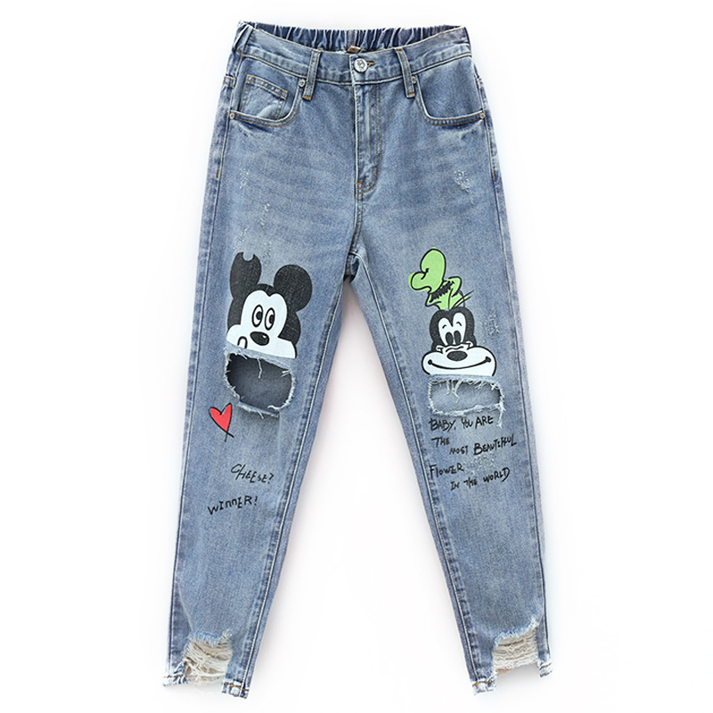 New Cotton   Jeans   Women 2019 Vintage Irregular   Jeans   Loose Elastic Waist Harajuku Cartoon Printed Hole   Jeans   Female Pants #8081