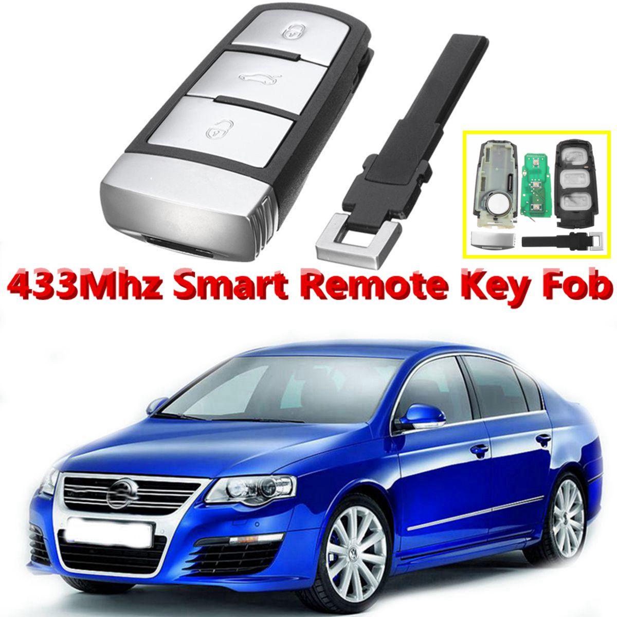 3 botones 433 Mhz entrada sin llave de coche de Control remoto Flip clave Fob ID48 Chip para VW Magotan Passat CC FCCID 3C0959752BA