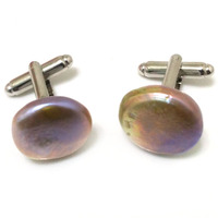 17x18mm Natural Lavender Flat Coin Pearl 925 Sterling Silver Cufflink