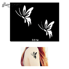 1 Piece Small Indian Henna Tattoo Stencil Flying Butterfly Design Airbrush Painting Women Body Art Tattoo Stencil Temporary S519