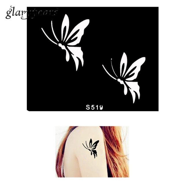 1 Piece Small Indian Henna Tattoo Stencil Flying Butterfly Design